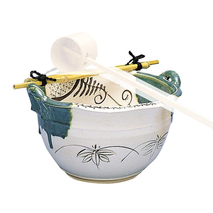 茶道具 その他 手洗鉢 織部 尺○ (筏付)