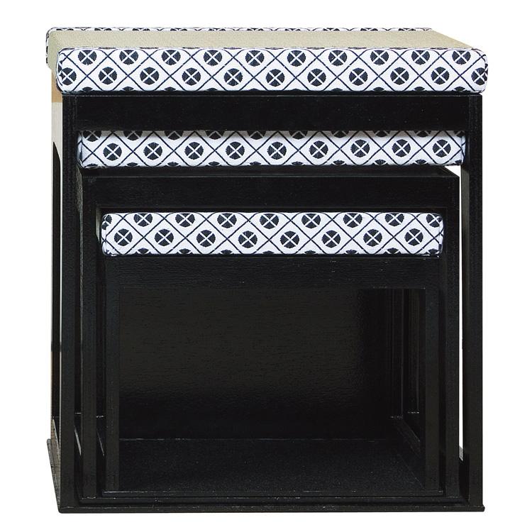 茶道具 水屋道具(みずやどうぐ) 茶事座椅子セット 大 黒掻合塗