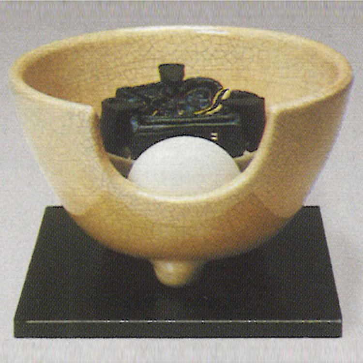 茶道具 風炉(ふろ) 電熱式紅鉢 枇杷色(びわいろ)さつま 100V/400W ※この商品は取り寄せ品になります。
