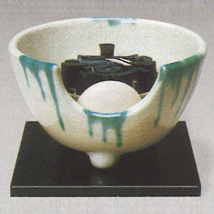 茶道具 風炉(ふろ) 電熱式紅鉢 さつま織部 100V/400W ※この商品は取り寄せ品になります。