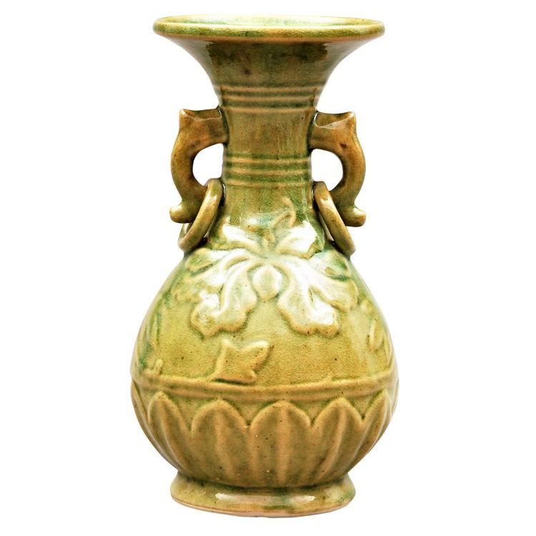 茶道具 花入(はないれ) 花入 黄釉 鐶付浮牡丹 越南製
