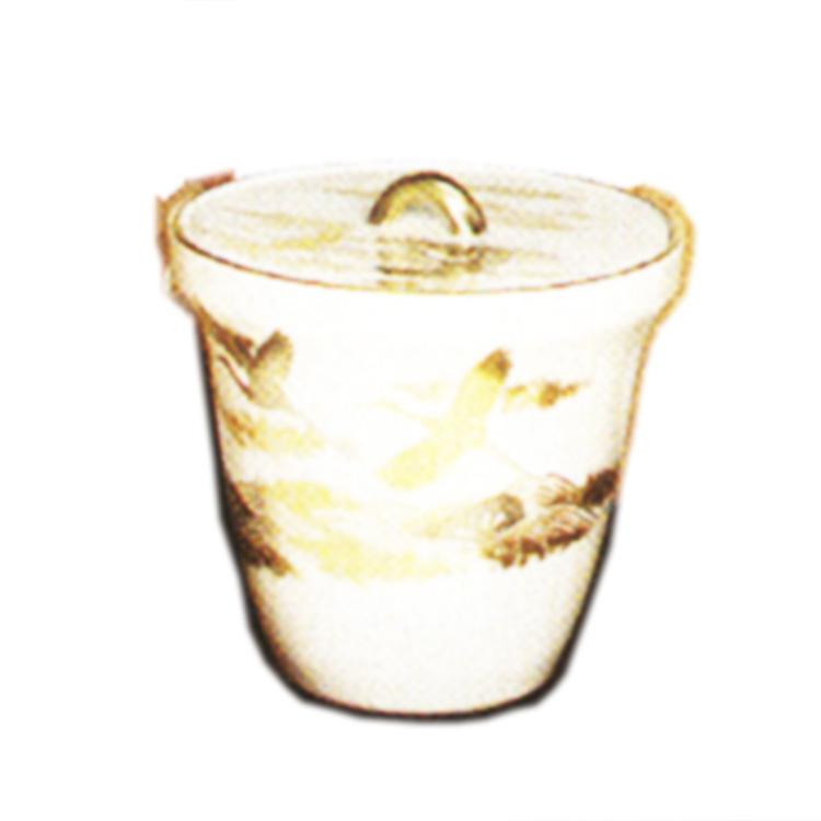 茶道具 水指(水差・みずさし) 水指 仁清 鶴に波車紋 御室窯