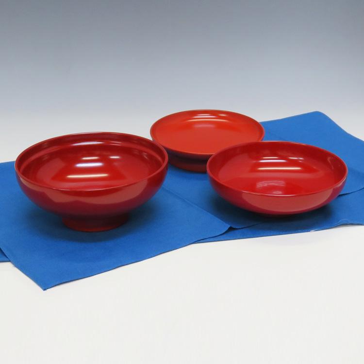 茶道具 蕎麦椀 総朱(根来塗皿付)風呂敷付 五客 化粧箱(茶道具 椀物 通販)