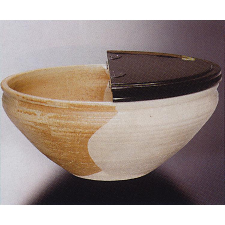 茶道具 平水指 片身変り 内刷毛目 真塗割蓋 黒石窯 水指(茶道具 通販 )