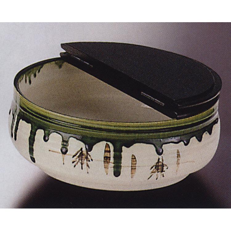 茶道具 平水指 織部 掻合塗割蓋 加藤五陶 水指(茶道具 通販 )