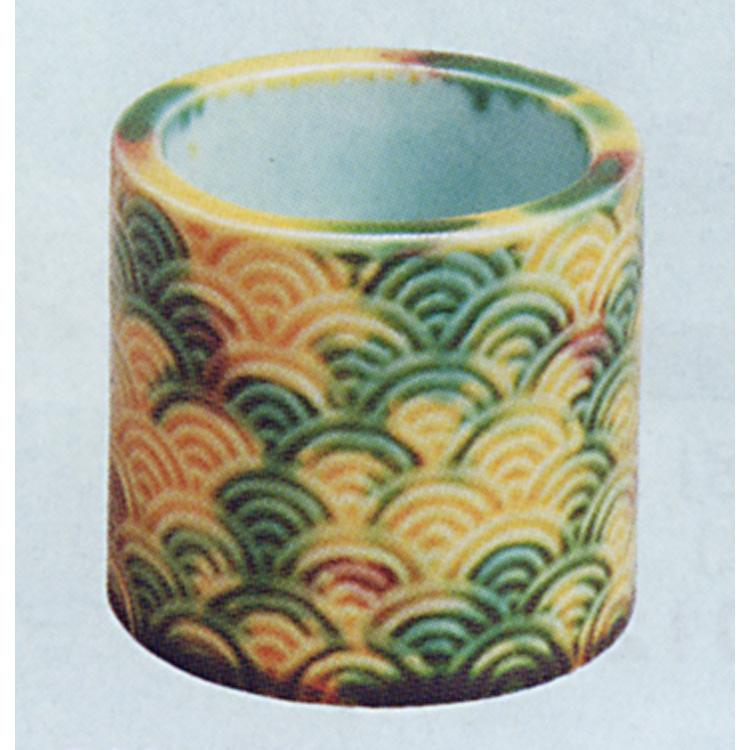 茶道具 蓋置 三彩青海波 横石嘉助 蓋置(茶道具 通販 )