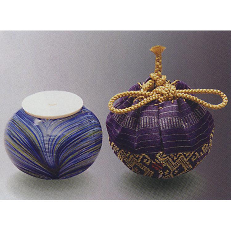 茶道具 義山茶入 青刷毛目 牙蓋付 仕服:ラオス織金襴 紫色 長寿 茶入(茶道具 通販 )