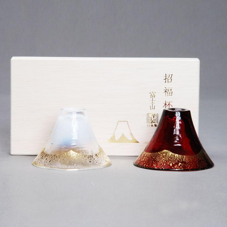 茶道具 義山 招福杯一双 富士山 金白・金あかね 懐石道具(茶道具 通販 )