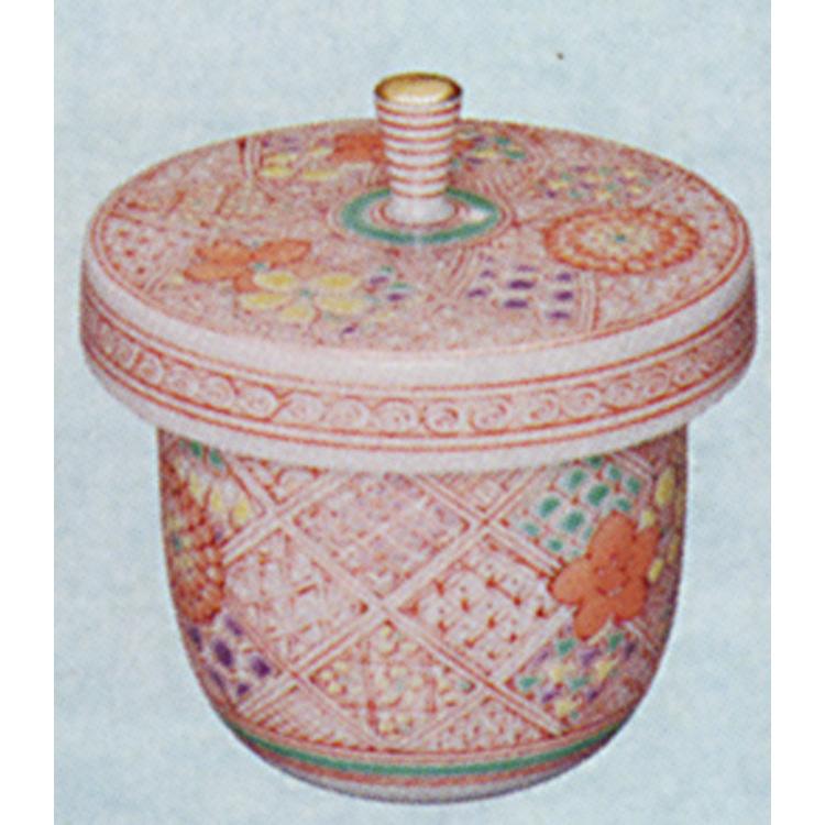 茶道具 丸地炉利用 蓋付氷入 赤絵 懐石道具(茶道具 通販 )