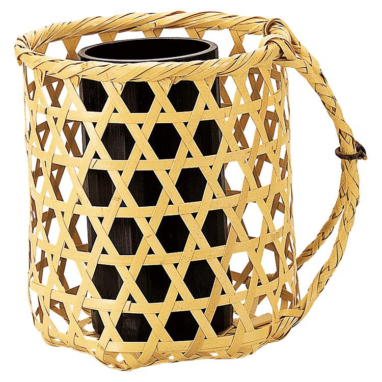 茶道具 背負籠 白竹 (上塗竹入子) 花入(茶道具 通販 )