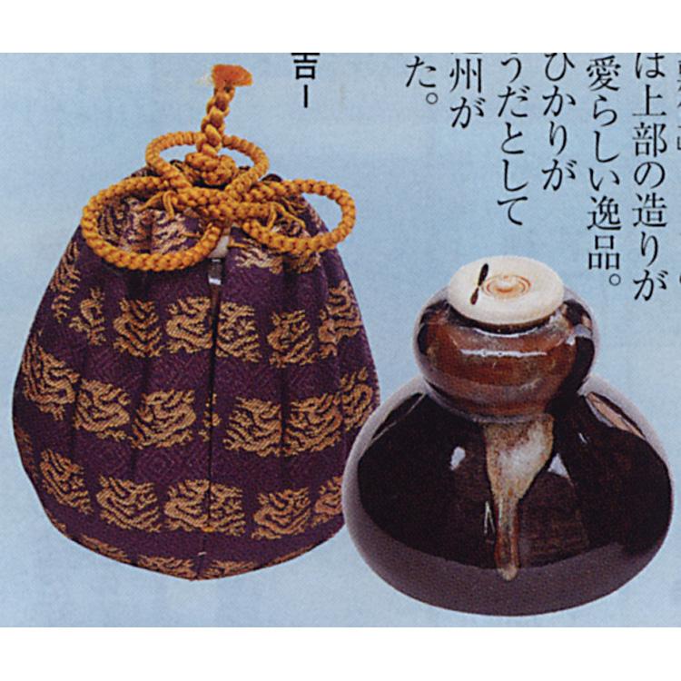 茶道具 茶入 蛍写 仕服:大徳寺裂 陶若窯 茶入(茶道具 通販 )