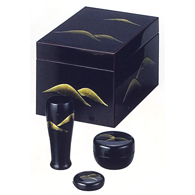 茶道具 茶箱 溜真塗 遠山 (三点セット付) 宗悦 茶箱 (茶道具 通販 )