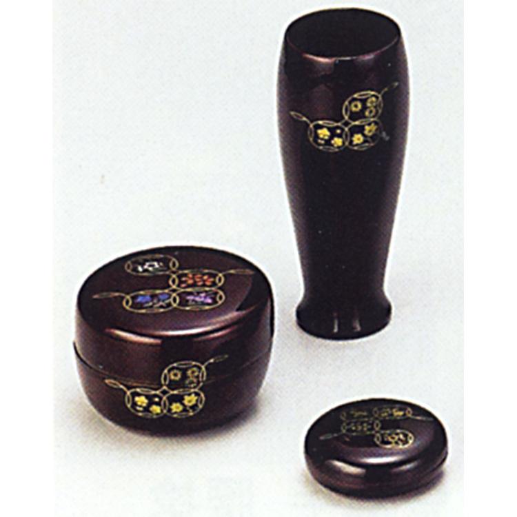 茶道具 三点セット(棗・香合・茶筌筒) 溜 七宝 (木製) 三点セット(棗・香合・茶筌筒)(茶道具 通販 )