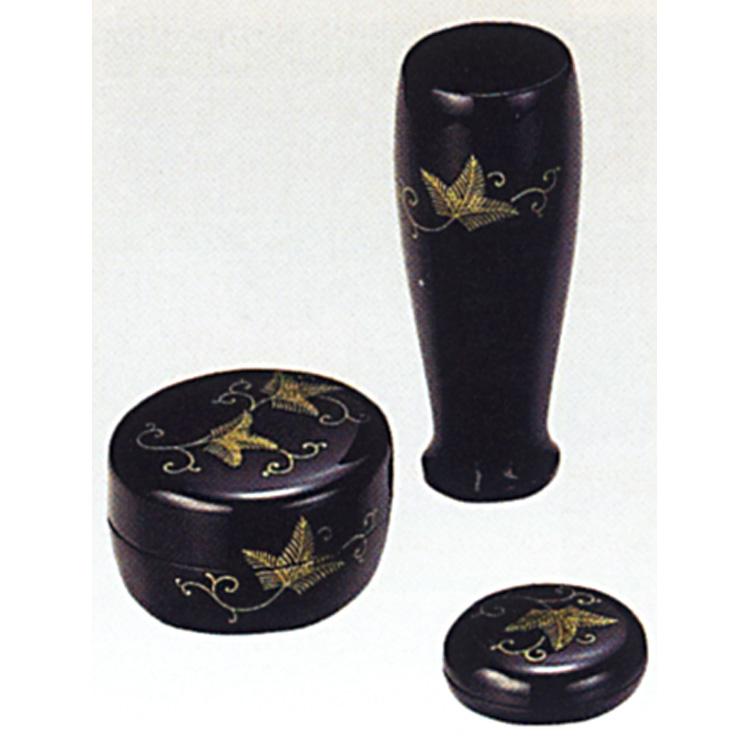 茶道具 三点セット(棗・香合・茶筌筒) 黒 松唐草 (木製) 三点セット(棗・香合・茶筌筒)(茶道具 通販 )