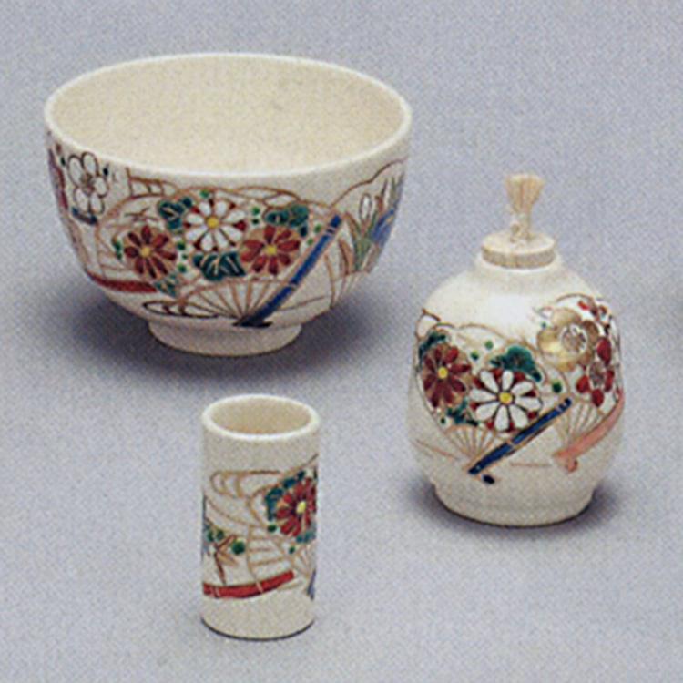 茶道具 三点セット(茶碗・振出・茶巾筒) 仁清 扇面香泉陶器三点揃(茶茶碗・振出・茶巾筒)(茶道具 通販 )