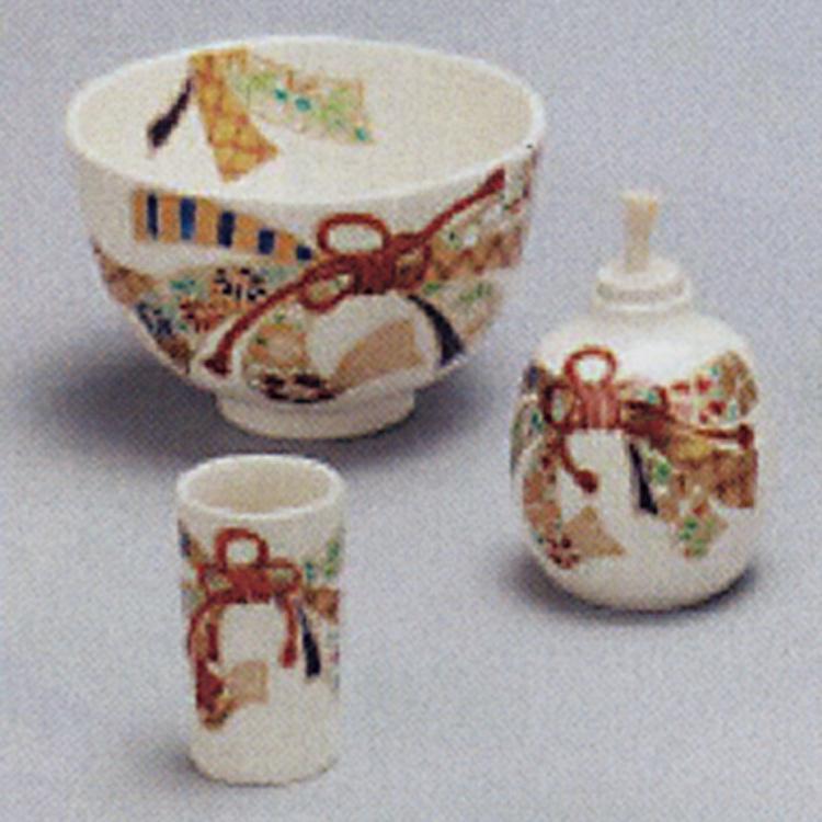 茶道具 三点セット(茶碗・振出・茶巾筒) 仁清 束熨斗 和香 陶器三点揃(茶茶碗・振出・茶巾筒)(茶道具 通販 )