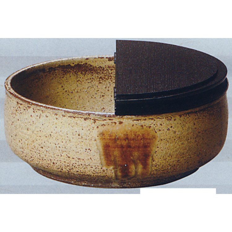 茶道具 平水指 丹波焼 伊羅保 掻合塗割蓋 信水窯 水指(茶道具 通販 )