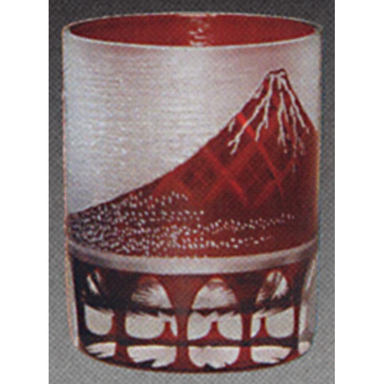 茶道具 義山オールド 赤富士矢来切子 東太武朗 懐石道具(茶道具 通販 )