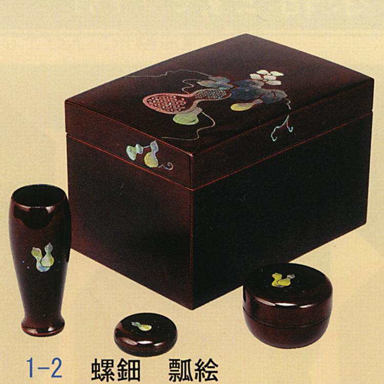 茶道具 利休茶箱 螺鈿 瓢絵 (三点セット付) 宗慎 茶箱 (茶道具 通販 )