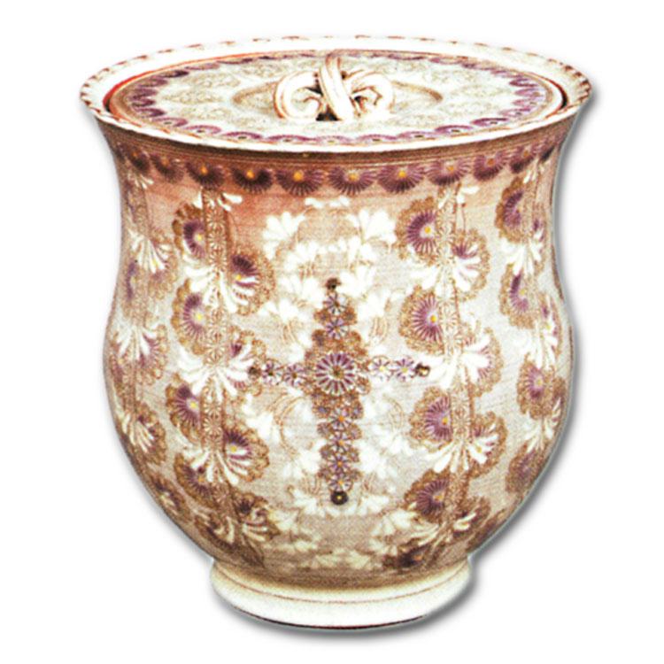 茶道具 水指 紫彩華紋輪花十字架 森里陶楽