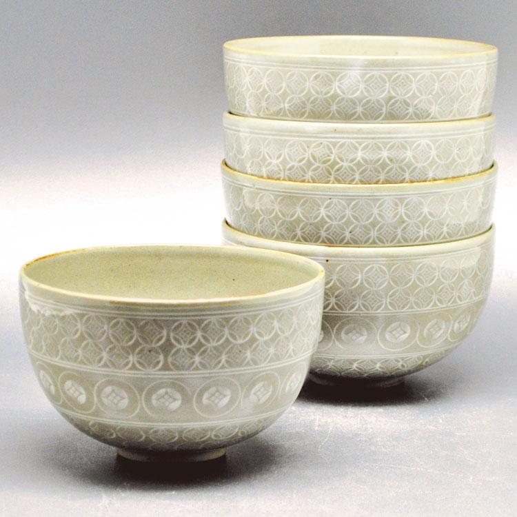 茶道具 数茶碗(かずちゃわん) 数茶碗 七宝三島 5客入 冶兵衛窯