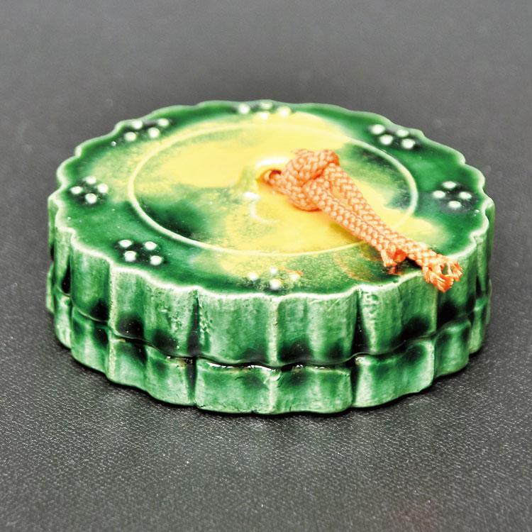 茶道具 香合(こうごう) 香合 三彩古鏡 松楽窯