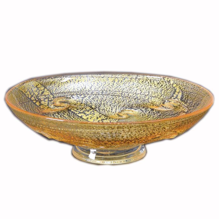 茶道具 平茶碗(ひらちゃわん) 平茶碗 義山 銀彩 貝紋 黄色 (冷茶用) 菊地 正博
