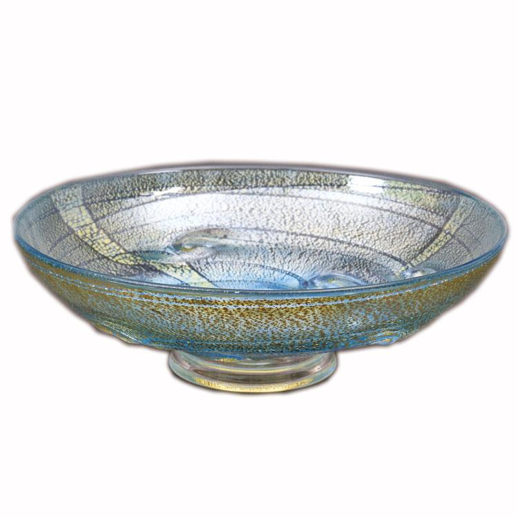 茶道具 平茶碗(ひらちゃわん) 平茶碗 義山 銀彩 貝紋 青色 (冷茶用) 菊地 正博