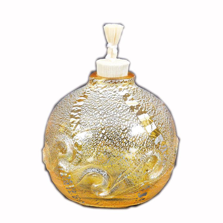 茶道具 菓子器(かしき) 義山 振り出し 丸形 銀彩 貝紋 黄色