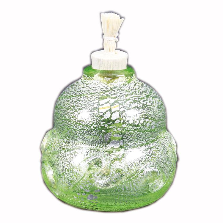 茶道具 菓子器(かしき) 義山 振り出し 瓢形 銀彩 貝紋 緑色