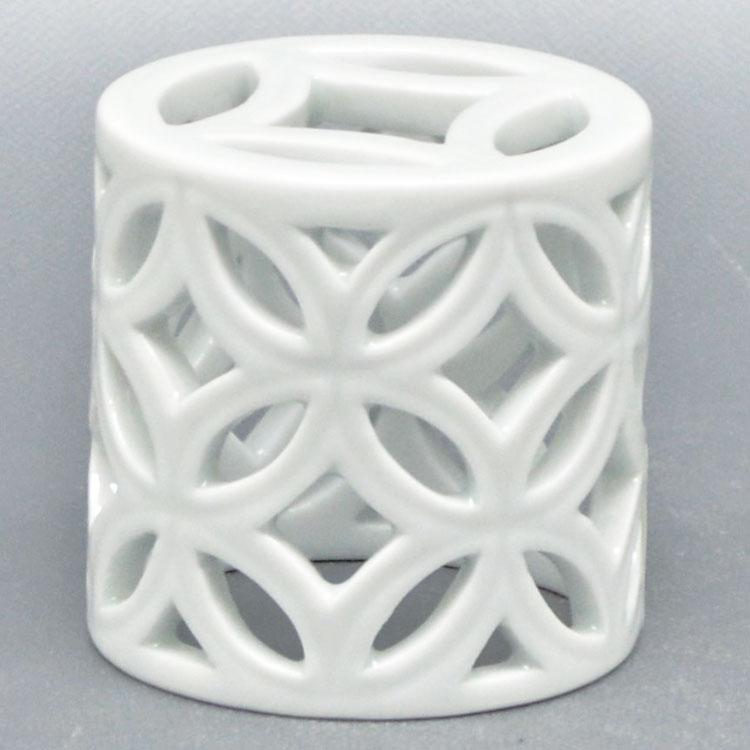 茶道具 蓋置(ふたおき) 蓋置 白磁 七宝透 横石 嘉助