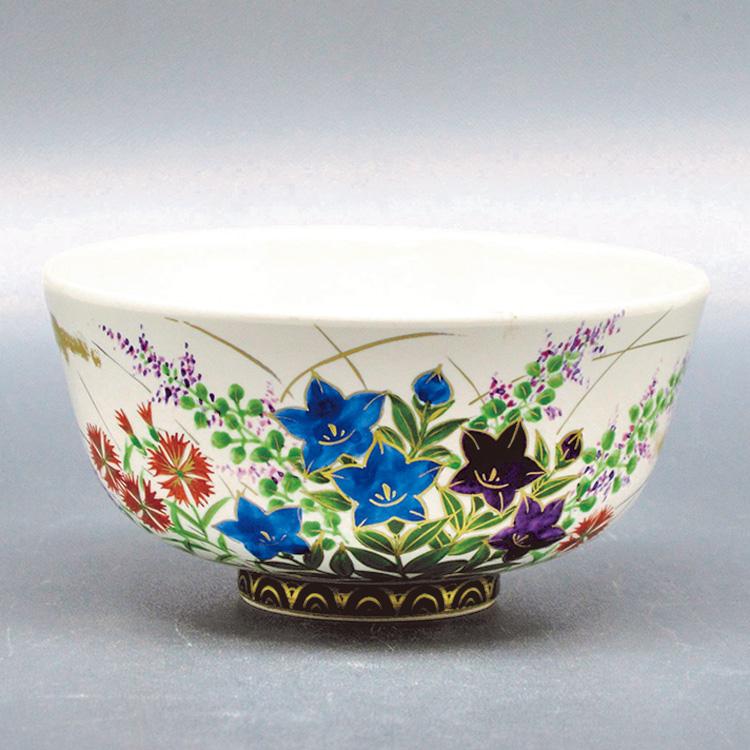 茶道具 抹茶茶碗(まっちゃちゃわん) 茶碗 白釉 秋草 山岡 善高
