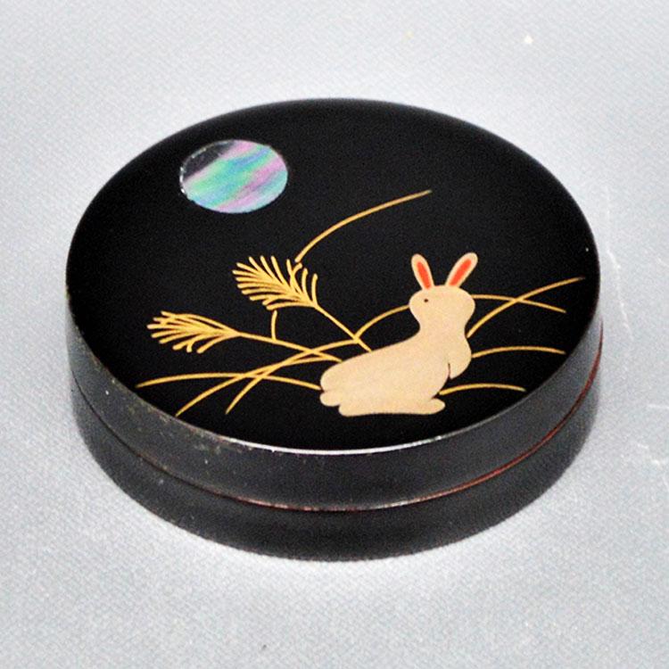 茶道具 香合(こうごう) 香合 月に兎蒔絵 中村 宗悦