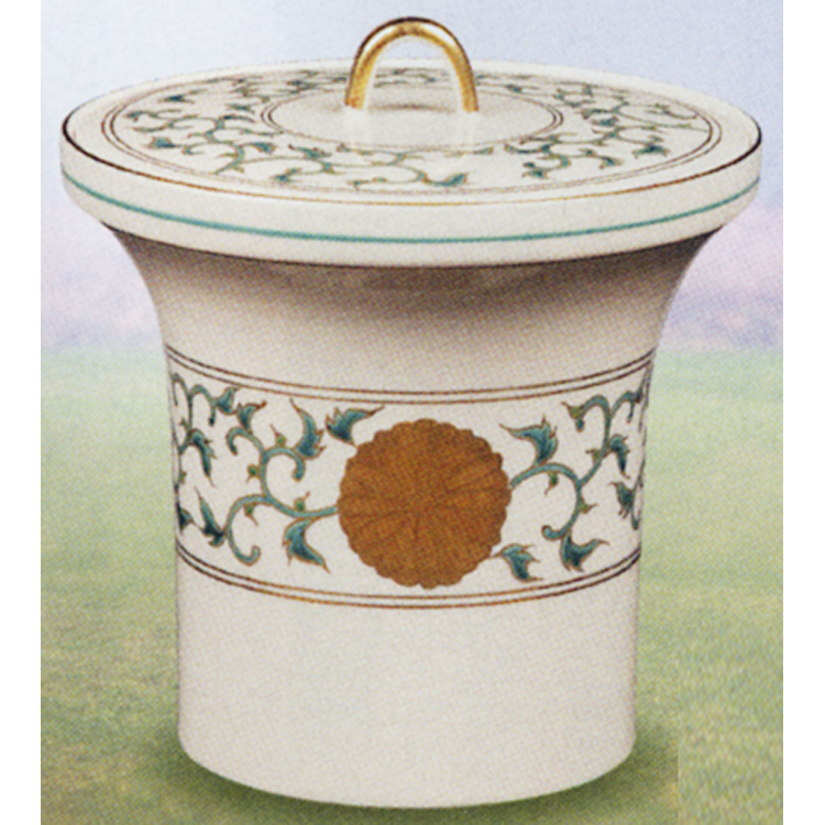 茶道具 水指 菊唐草 末広形 御室窯 (茶道具 通販 )
