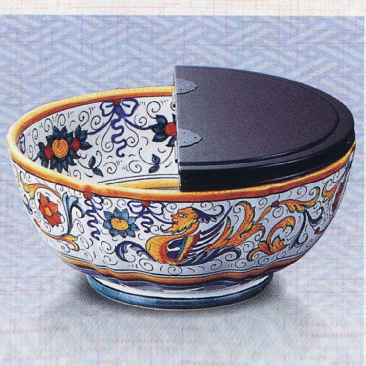 茶道具 平水指 鳳凰花紋 真塗割蓋 イタリア デルータ グラズィア製 (茶道具 通販 )