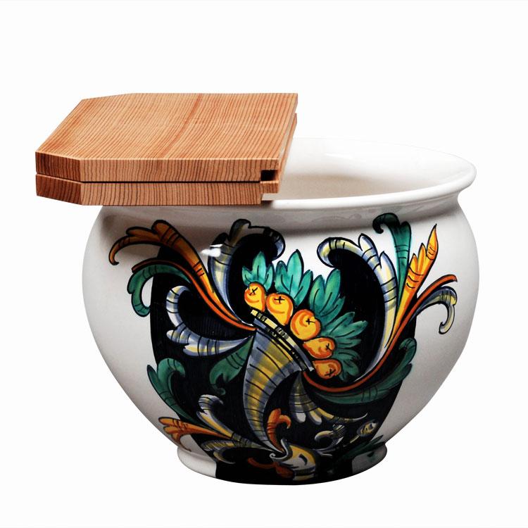 茶道具 水屋瓶(みずやがめ) イタリア 巻き上げ葉 (杉割蓋付)