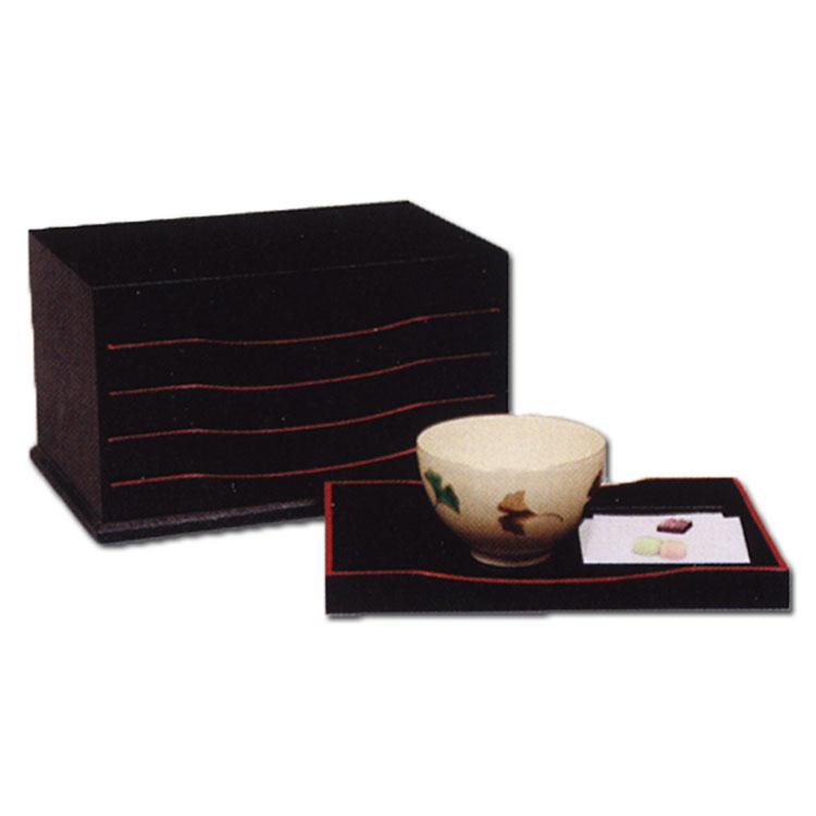 茶道具 五重盆 黒掻合塗 (かきあわせぬり)一人分の点出し盆 5枚組●茶碗、干菓子、懐紙は別売です。 湖彩