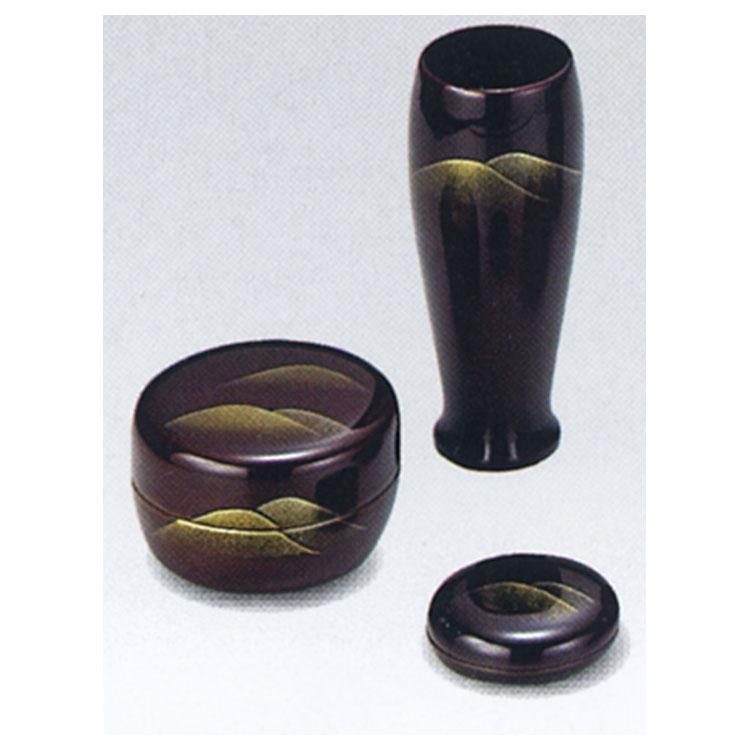 茶道具 塗 三点セット(棗・香合・茶筅筒) 溜 遠山 木製 宗悦