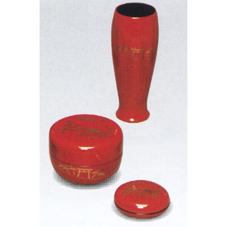 茶道具 塗 三点セット(棗・香合・茶筅筒) 朱 住吉 木製 宗悦