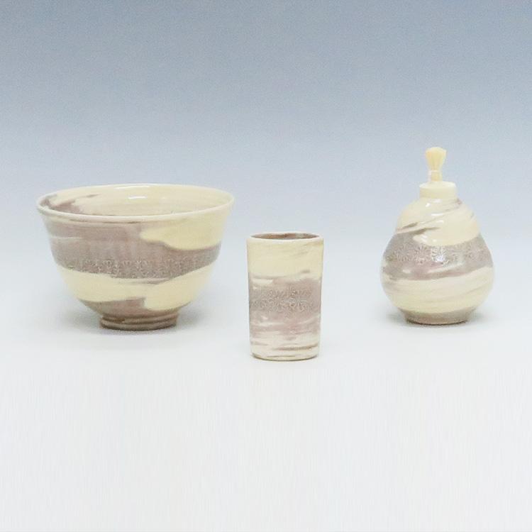 茶道具 陶器三点セット(茶碗・振出・茶巾筒) 紫三島 刷毛目 陶楽