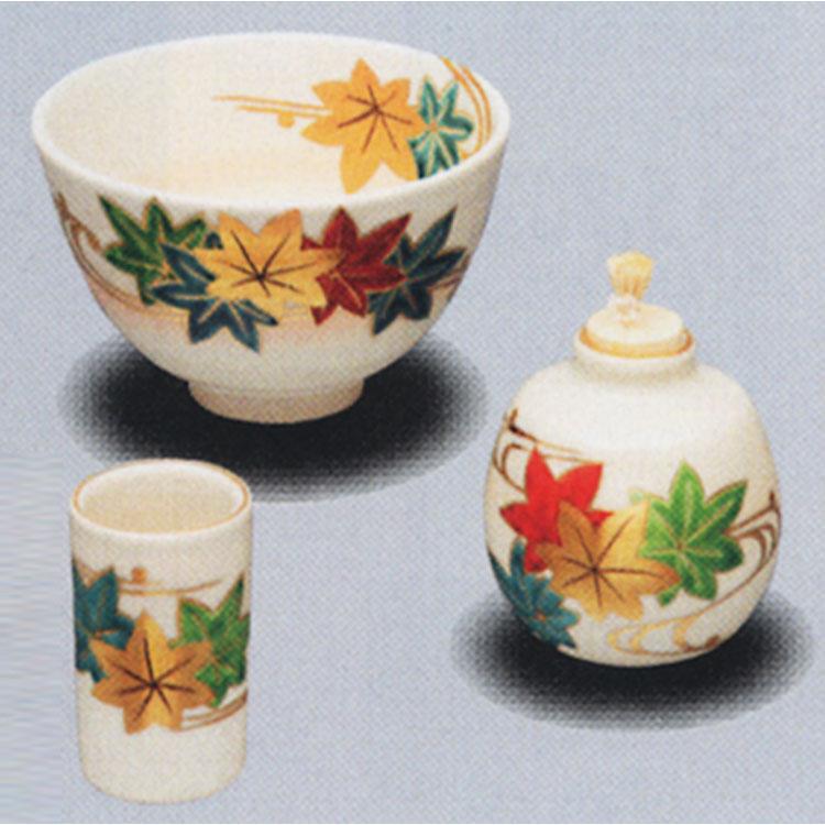 茶道具 陶器三点セット(茶碗・振出・茶巾筒) 仁清 楓流 桐鳳