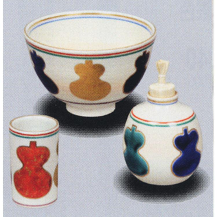 茶道具 陶器三点セット(茶碗・振出・茶巾筒) 仁清 六瓢 桐鳳
