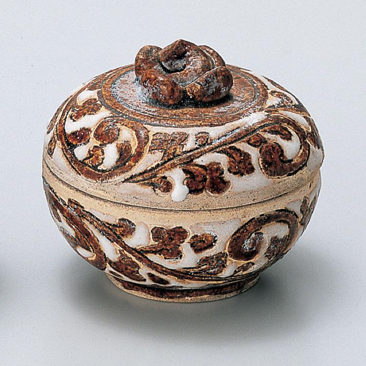 茶道具 香合宋胡録 柿香合 白褐釉 タイ製