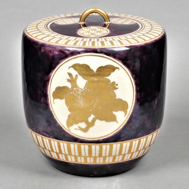 茶道具 水指 紫斑釉 三聖果 小川盧舟