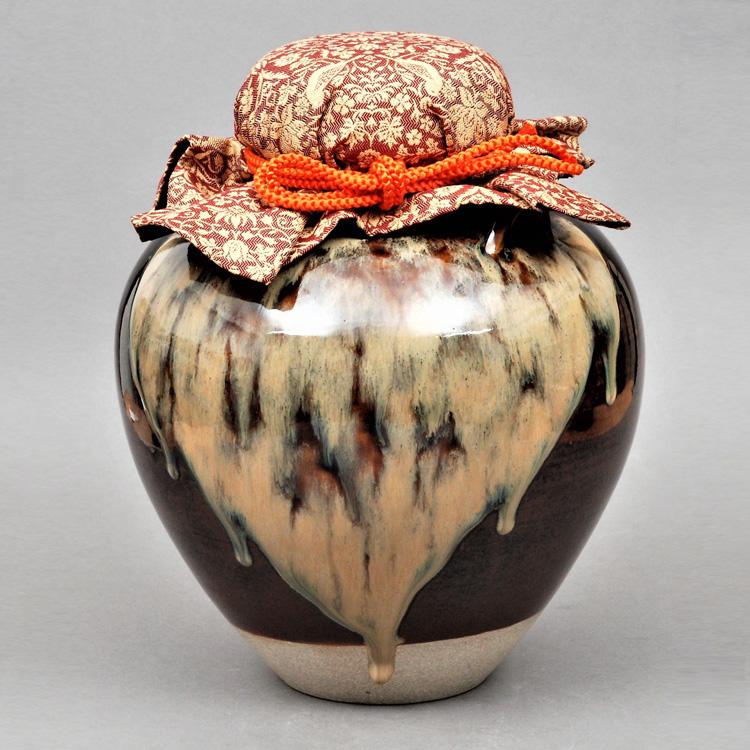 茶道具 飾壺 膳所焼 正絹口紐・正絹網・正絹口覆い付属 陽炎園