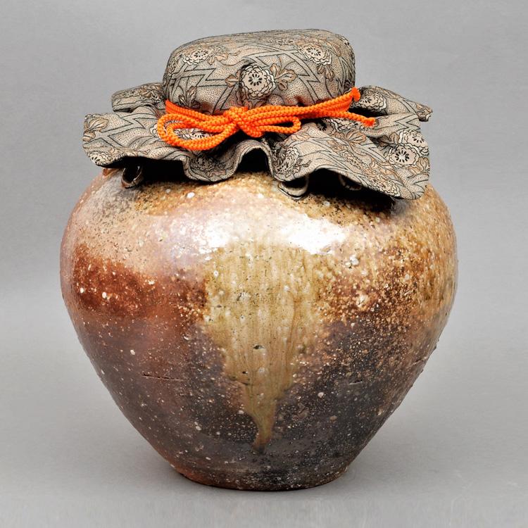 茶道具 飾壺 信楽焼 正絹口紐・正絹網・正絹口覆い付属 高橋光三