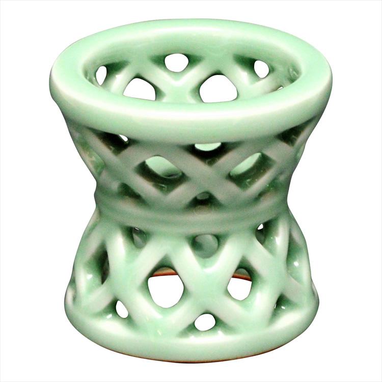 茶道具 蓋置(ふたおき) 蓋置 青磁 籠形 横石 嘉助