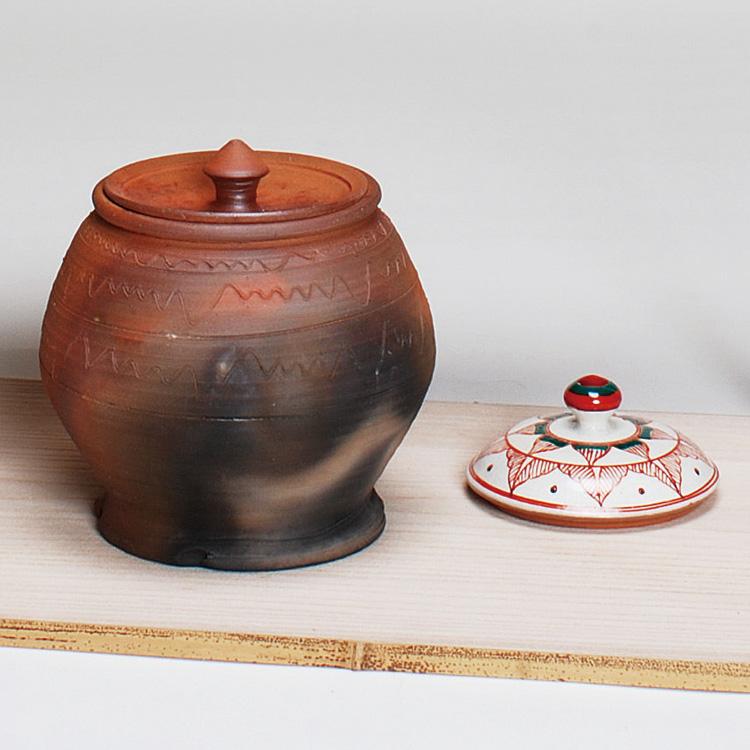 茶道具 水指(水差・みずさし) 水指 南蛮芋頭 赤絵替蓋付 太仙窯