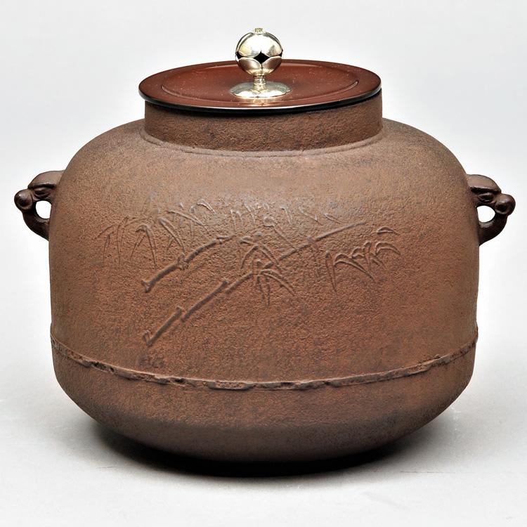 茶道具 風炉釜(ふろがま) 風炉釜 笹地紋 銀撮 和田 美之助