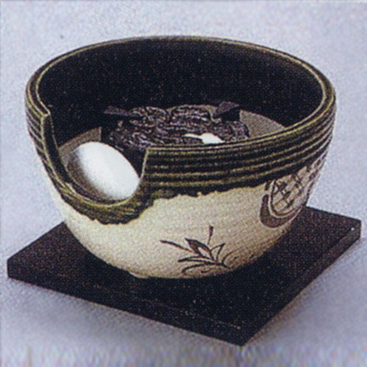 茶道具 風炉(ふろ) ヤマキ製電熱式紅鉢 織部半掛 100V/200W/500W